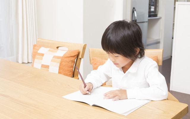 ダイニングテーブルで勉強する男の子